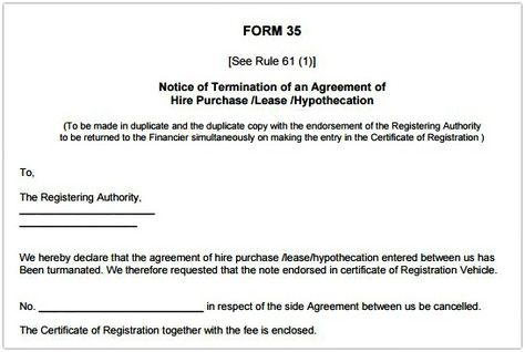 rto form template sample termination agreement hire purchase - purchase agreement samples