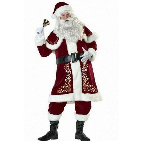 Deluxe REGAL PLUSH Men/'s Santa Claus Father Christmas Suit Fancy Dress Costume