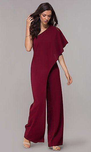 One Shoulder Burgundy Red Wedding Guest Jumpsuit Jumpsuit Elegant Jumpsuit For Wedding Guest Classy Jumpsuit