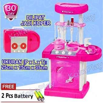 Kokaplay Fashion Funny Kitchen Set Luggage Play Set Mainan Anak Perempuan Laki Laki Masak Masakan Koper Free 2 Baterai Mainan Anak Mainan Anak Perempuan