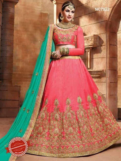1404a3214b Pink & Green Silk Lehenga Choli