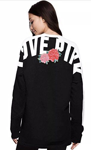 Victoria/'s Secret PINK Red /& Silver Sequins Bling Ugly X-Mas Campus Crew Shirt