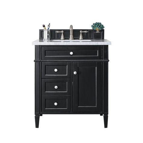 Brittany 30 Single Vanity Black Onyx Base Only No Top Acrylic 28 75 X 23 32 James Martin Furniture