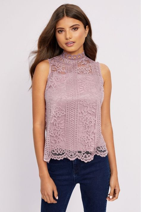 High neck lace top, Pink lace tops, Lace