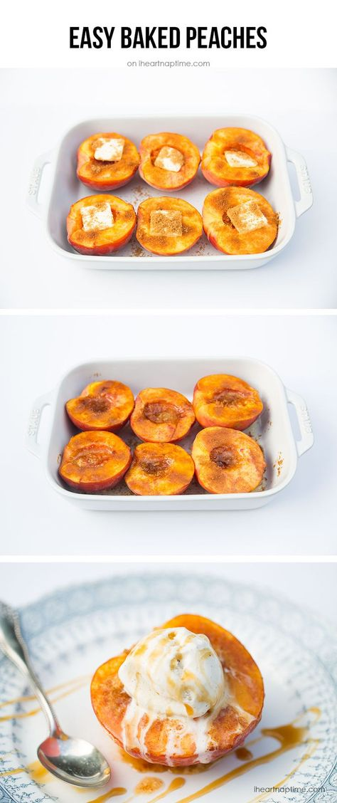 Baked peaches with brown sugar, butter and cinnamon. Tastes like a homemade peach pie without all the work and calories! #easy #healthy #desserts #peaches #brownsugar #butter #oven #sweets #iheartnaptime