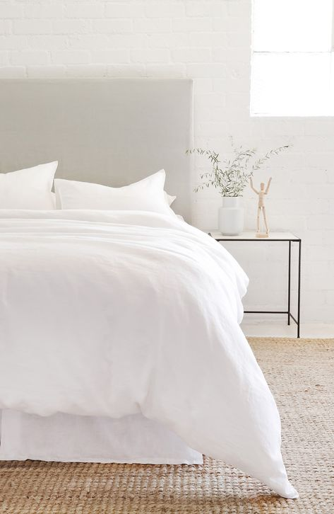 Lightweight linen makes this duvet set a crisp, comfortable complement to any modern or traditional bedroom décor. Style Name:Pom Pom At Home Parker Linen Duvet Cover & Sham Set. Style Number: Available in stores. White Bedroom Set, Master Bedroom Interior, Clean Bedroom, Modern Master Bedroom, Room Ideas Bedroom, Zara Home Bedroom, Airy Bedroom, Bedroom Inspo, Boho Chic Bedroom