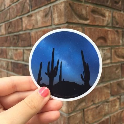 Cactus Night Sky Desert Landscape Sticker | Waterproof + Weatherproof Sticker | 3 inch round sticker | waterbottle + laptop desert galaxy#cactus #desert #galaxy #inch #landscape #laptop #night #sky #sticker #waterbottle #waterproof #weatherproof
