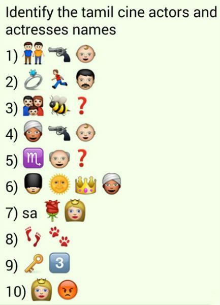 Whatsapp Puzzles Guess Tamil Movie Actor And Actress Names From Emoticons And Smileys Bhavinionline Com In 2020 Tamil Movies Guess The Movie Jokes And Riddles