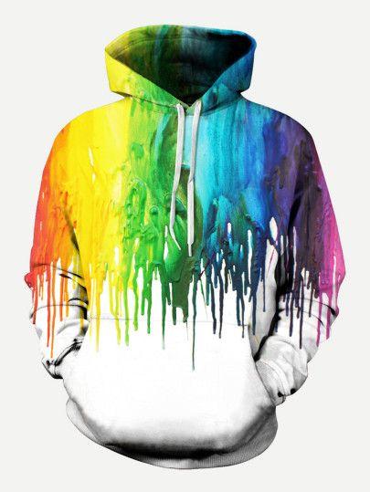 Men Paint Drip Print Hooded Sweatshirt Shein Sheinside Painting Hoodie Hoodies Men Mens Sweatshirts Hoodie