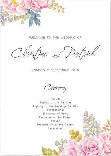 Wedding Program Printable Sign Boho Floral Watercolor Flower