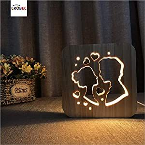 Crobec Sweet Lovers Style Night Light Valentine S Day Present House Decoration Lights Baby Night Lights Bedside Night Lights 3d Wood Lamp With Usb Powered Push In 2020 Wooden Lamp Wood Lamps Baby Night Light