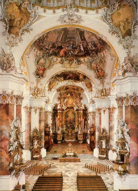 Basilica of Ottobeuren, Baroque Interior – Architektur Architecture Baroque, Beautiful Architecture, Beautiful Buildings, Beautiful Places, Classical Architecture, Ancient Architecture, Sustainable Architecture, Landscape Architecture, Travel Aesthetic
