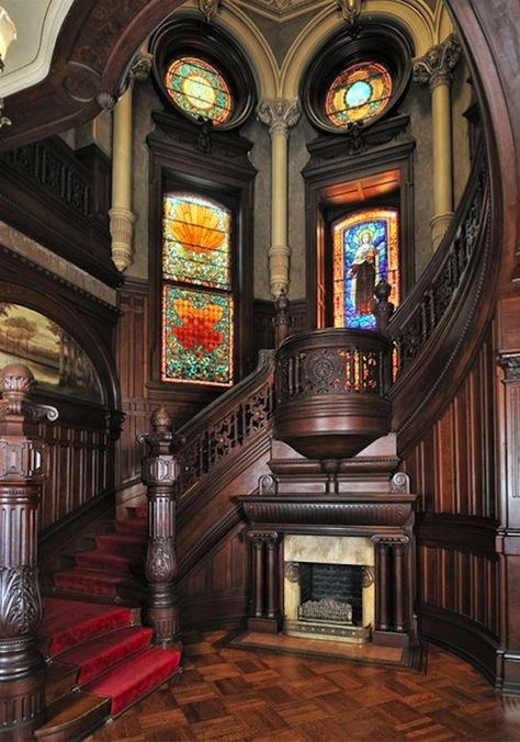 26 Stunning Victorian Stairs Design Ideas With Gothic Style Victorian Interiors, Victorian Architecture, Beautiful Architecture, Victorian Homes, Architecture Design, Victorian Castle, Interior Staircase, Grand Staircase, Staircase Design