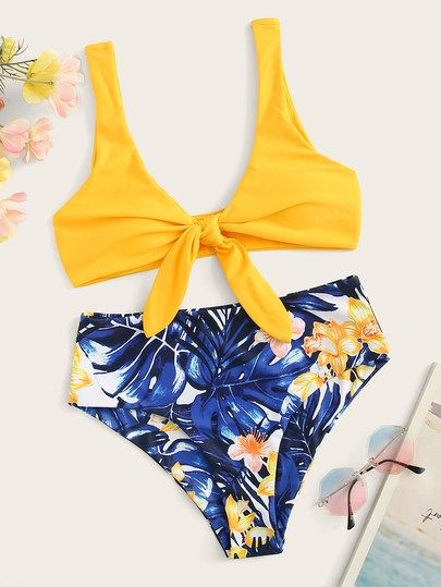 8cc218921c Knot Front Top With Random Tropical Print Bikini Set [swswim03190327856] -  $30.00 : cuteshopp