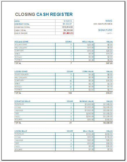 Cash Register Templates 8 Free Docs Xlsx Pdf Balance Sheet Template Bookkeeping Templates Excel Templates