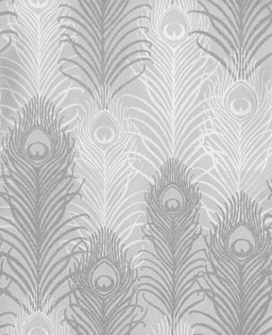 Peacock (W6541-04) - Osborne & Little Wallpapers - Matthew Williamson's signature motif, the peacock feather is given an  exotic touch with this amazing beaded design. Shown here in beaded metallic silver shade overlaid on a pebble and white motif. Please request a sample for true colour match.