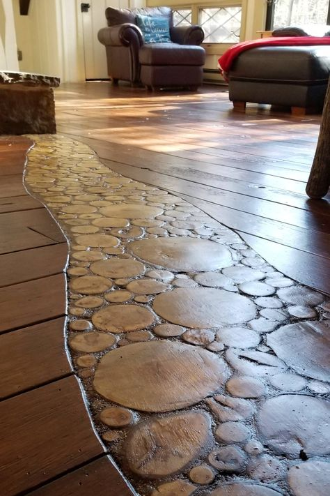 In this article, we go over what we did to create this wood slice accent flooring. Otherwise known as end grain flooring, log end flooring or end grain log flooring. Whatever name you prefer, we think the end result looks really nice! End Grain Flooring, Unique Flooring, Wide Plank Flooring, Laminate Flooring, Diy Wood Floors, Rustic Wood Floors, Painted Floors, Wood Floors In Kitchen, Wood Floor Design