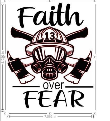 Excited to share this item from my shop: Faith over Fear Firefighter decal for car, truck, ipad large size 9 inches tall your color choice firemen firefighter fire department