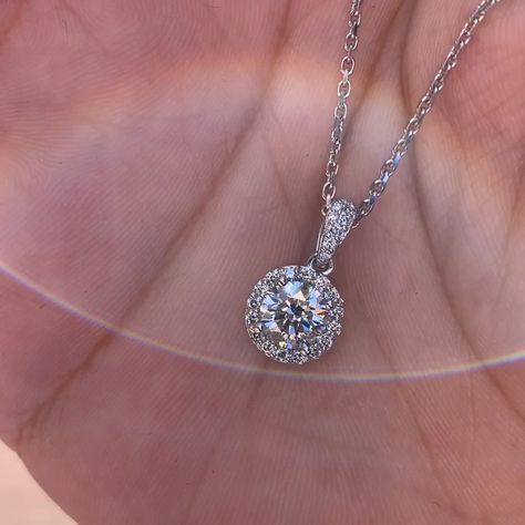 Check out this lab grown diamond halo pendant featuring 1ct round brilliant cut lab grown diamond with halo around on 14k white gold. $3995 visit our website