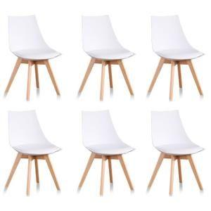 Lot De 6 Chaises Scandinaves Blanches Prague Designetsamaison Chaise Blanche Scandinave Chaise De Salle A Manger Chaises Blanches