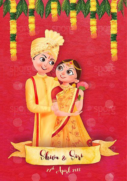 Illustrated Telugu Hindu Wedding Invitation Indian Wedding Invitation Cards Hindu Wedding Invitation Cards Hindu Wedding Cards