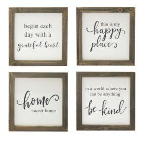 Set Of 4 Rustic Wood Farmhouse Signs Various Sayings Detail 2 Farmhouse Signs Farm Signs Interior Paint Colors For Living Room