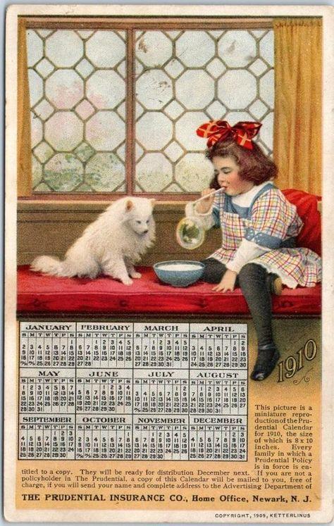 1910 Prudential Insurance Calendar Postcard Little Girl Blowing