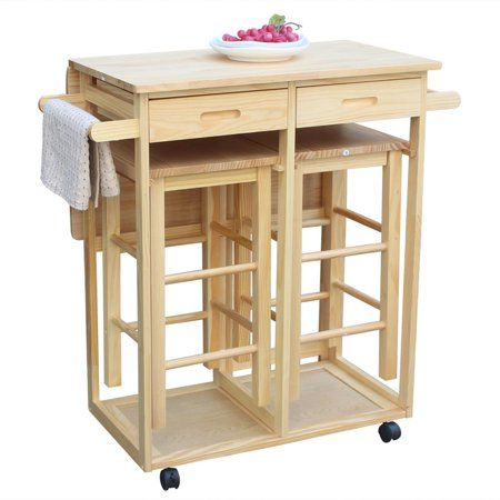 Ktaxon Wood Top Kitchen Island Storage Cabinet Dining Table With Drawers And 2 Stools Walmart Com Kitchen Cart Kitchen Table Wood Rolling Kitchen Island