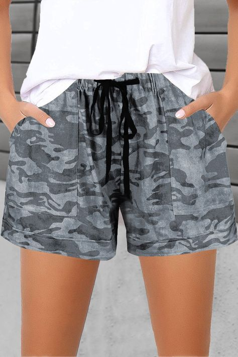 Camouflage Drawstring Waist Little Girls' Shorts with Pockets - Green / S / 95%Polyester+5%Spandex