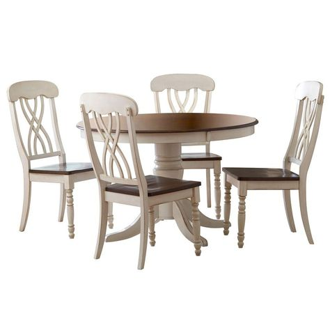 Homesullivan 5 Piece Antique White And Cherry Dining Set 401393w 48 5pc Round Dining Table Sets Round Dining Table White Round Dining Table