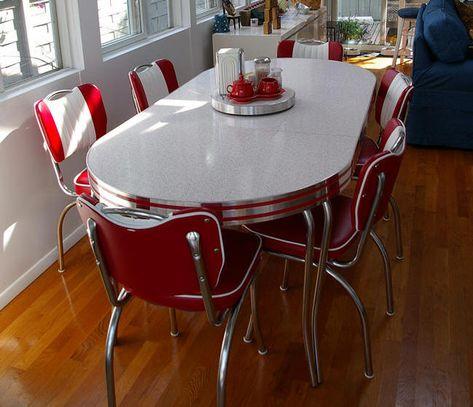 Chrome Kitchen Set In Red White Ovaler Kuchentisch Kuche