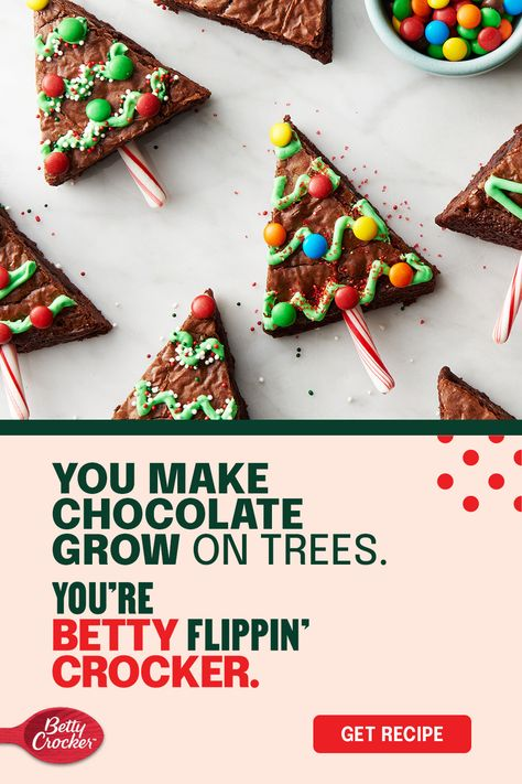 Decorating the holiday tree is deliciously easy for you and your little elves with Betty's simple recipe for Holiday Tree Brownies. It's made easy with Betty Crocker Supreme original brownie mix, candy canes, and your favorite frosting and candy.