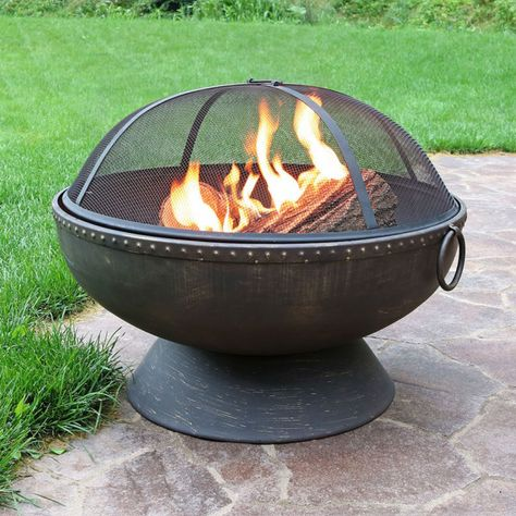 Outdoor 30 Inch Firebowl Metal Wood Burning Fire Pit W Spark Screen Cover Wood Fire Pit Fire Pit Essentials Fire Pit Gallery