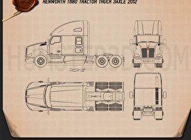 Kenworth T680 Tractor Truck 3 Axle 2012 Blueprint Kenworth Blueprints Tractors