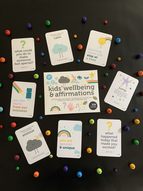 Use these fun cards to help children build a strong mindset and resilience from a young age.  – 12 question cards to encourage children to think differently about their day.  – 12 activity cards to help children practice mindfulness or to help them improve the way they are feeling.  – 8 feeling and emotion cards to help children understand and describe their feelings.  – 32 positive affirmation cards to help you encourage, support and inspire children.