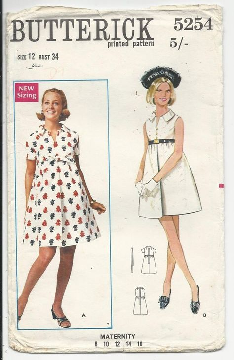 fba6ac8f3a9 UNCUT UNUSED VINTAGE 1960s SEWING PATTERN Womens MATERNITY DRESS size 12