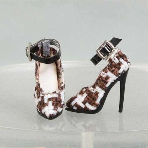 shoes for Ob Obitsu Fashion royaltyⅡ  FR2 poppy parker doll Black white block