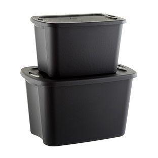 Sterilite Black Tote Boxes The Container Store Plastic Bins Plastic Box Storage Tote Storage