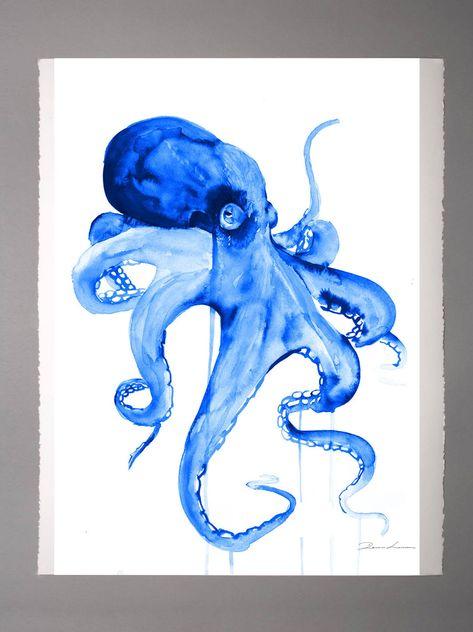 Blue Octopus watercolor painting Nautical Bathroom art   Etsy