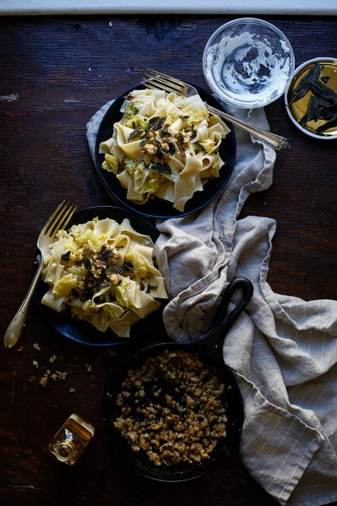 pappardelle cabbage walnuts + truffled fromage blanc