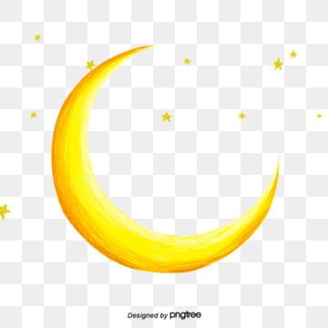 Yellow Moon Crescent Starry Five Pointed Star Yellow Moon Crescent Moon Art Moon Silhouette