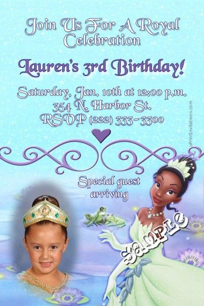 Princess and the Frog Tiana Birthday Invitations - Get these - create invitations online free no download