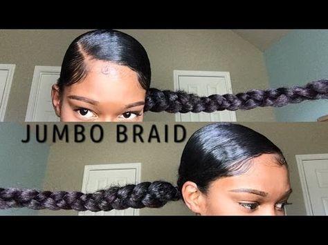Jumbo Braid Ponytail With Kanekalon Hair Natural Hair Video Kanekalon Hairstyles Natural Hair Styles Braided Ponytail