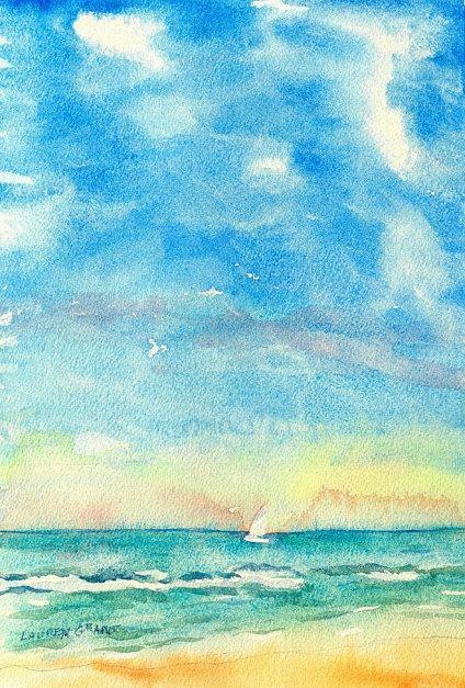 Ocean beach scene original watercolor by LaurensWatercolors, $125.00