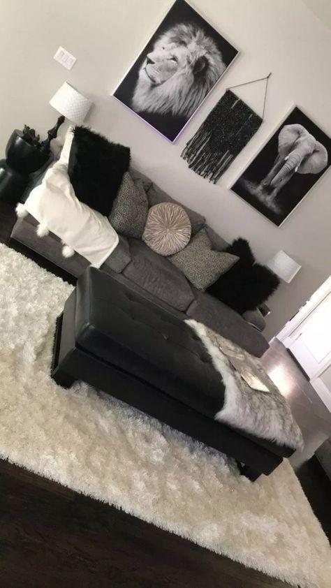 55 Black Living Room Decor with Minimalist Design #blacklivingroom #livingroomdesign ~ aacmm.com