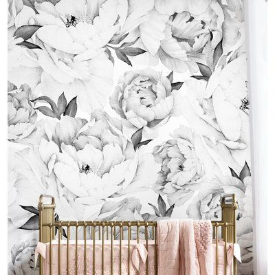 Peony Flower 108 X 24 5 Piece Wallpaper Panel Set Of 5 Peony Wallpaper Flower Mural Wall Art Wallpaper
