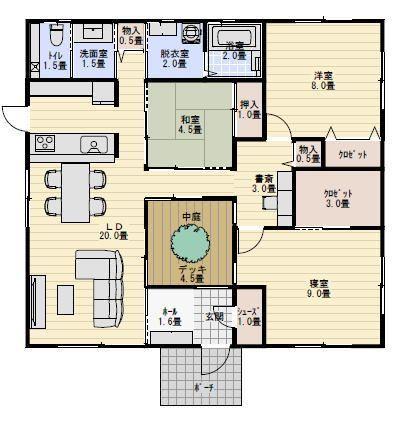 31坪2ldk中庭のある平屋の間取り 平屋間取り 中庭のある平屋