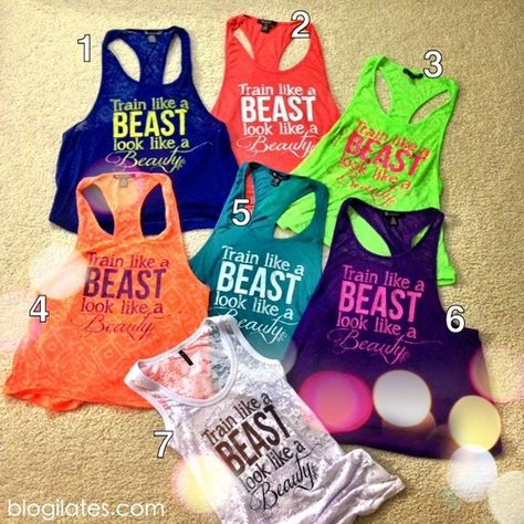 Train like a Beast, look like a Beauty.  The words only show up when you sweat so cool! I want one so bad!