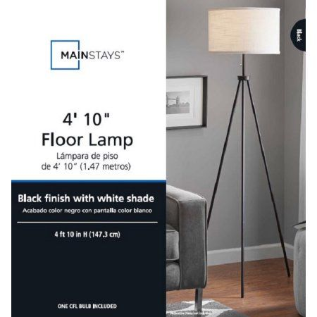 Mainstays 58 Metal Tripod Floor Lamp Black Walmart Com Black Tripod Floor Lamp Tripod Floor Lamps Black Floor Lamp Living room floor lamps walmart
