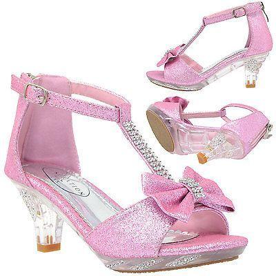 Girl/'s High Heel Dress Sandals Evening T-Strap Bow Rhinestone Toddler Kids Shoes